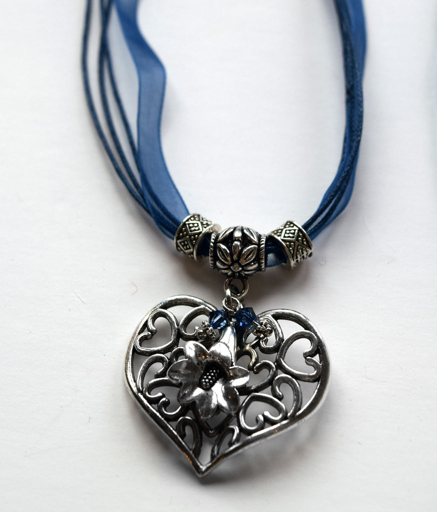 Filigree Heart and Gentian Flower Necklace - Rare Dirndl