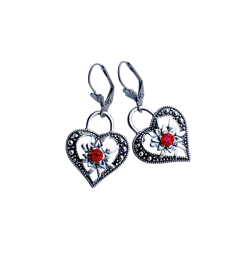 Edelweiss & Heart Lock Dangle Earrings - Rare Dirndl - Dirndl made in USA