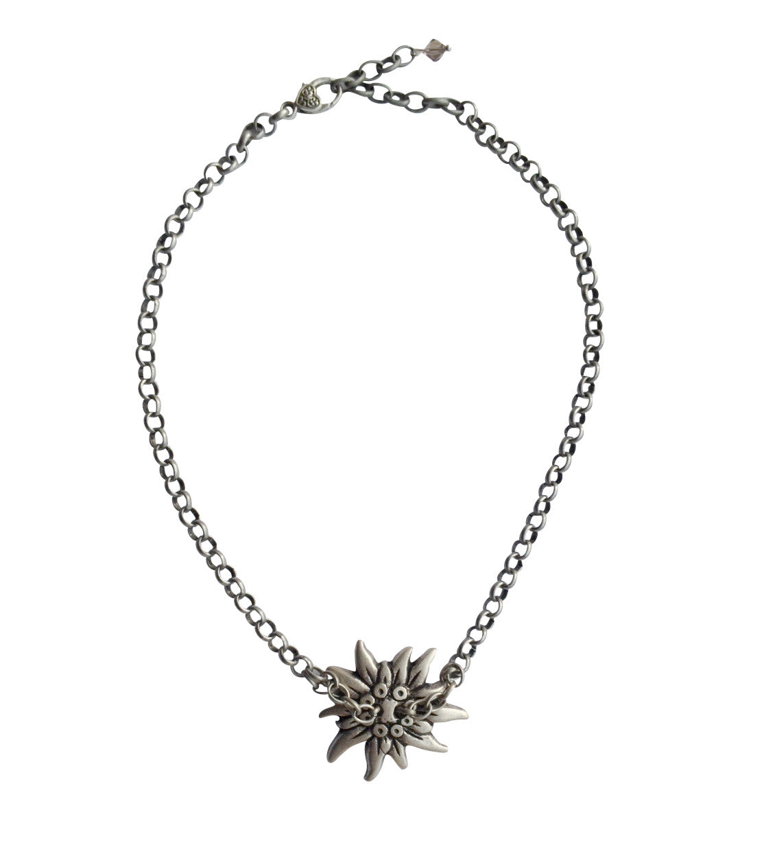 Industrial Style Edelweiss Necklace - Rare Dirndl