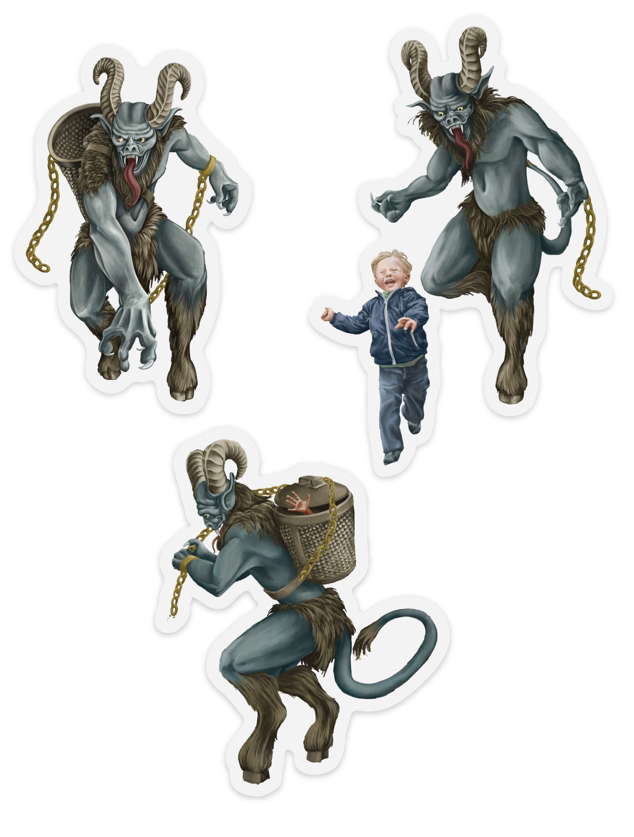 3-Pack of Krampus Stickers - Rare Dirndl