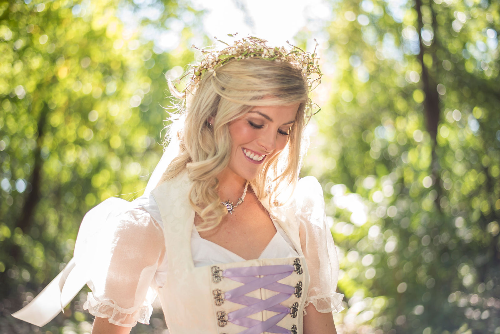 Bridal Dirndl with Contemporary Regal Neckline - Rare Dirndl
