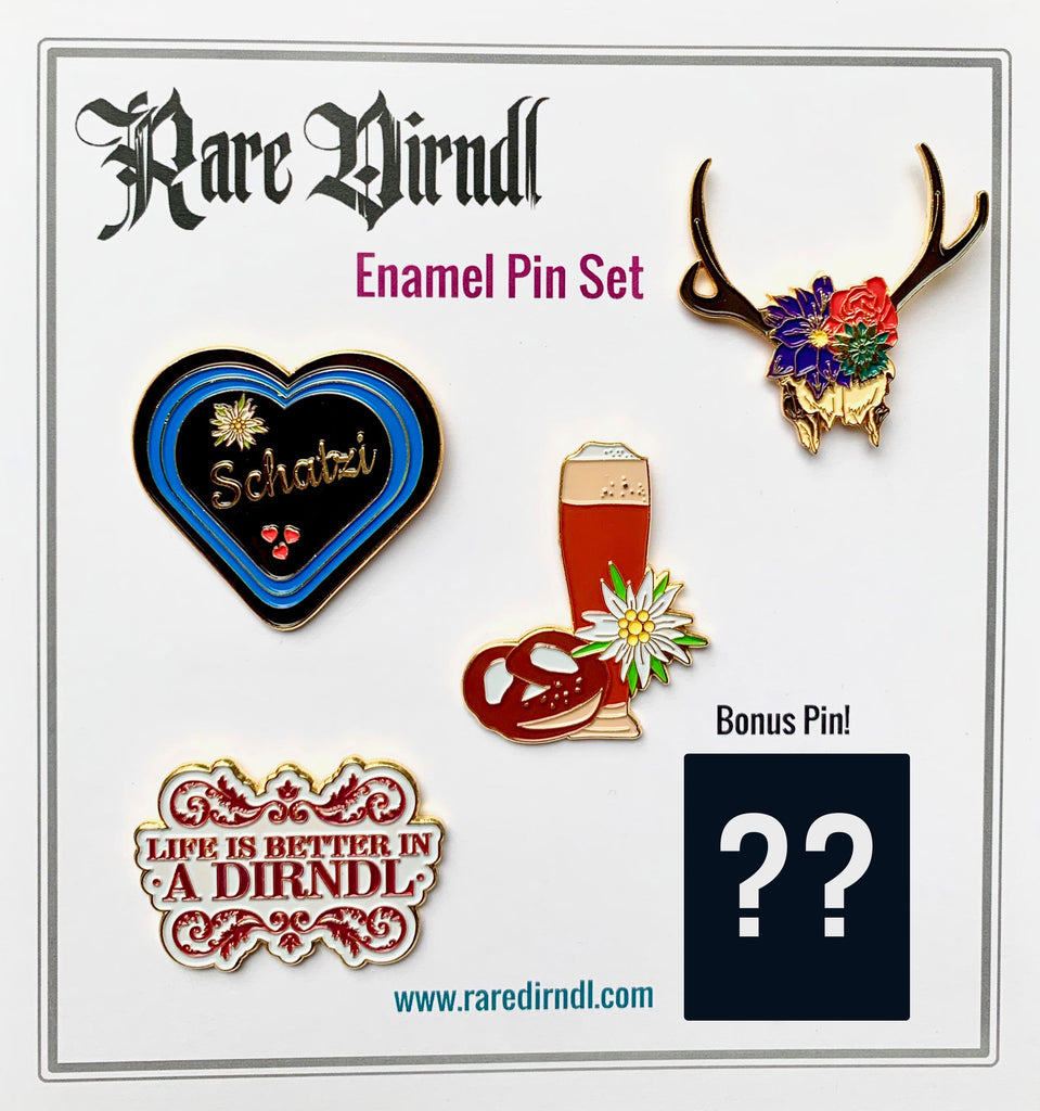 Rare Dirndl Enamel Pin Set - Rare Dirndl - Dirndl made in USA
