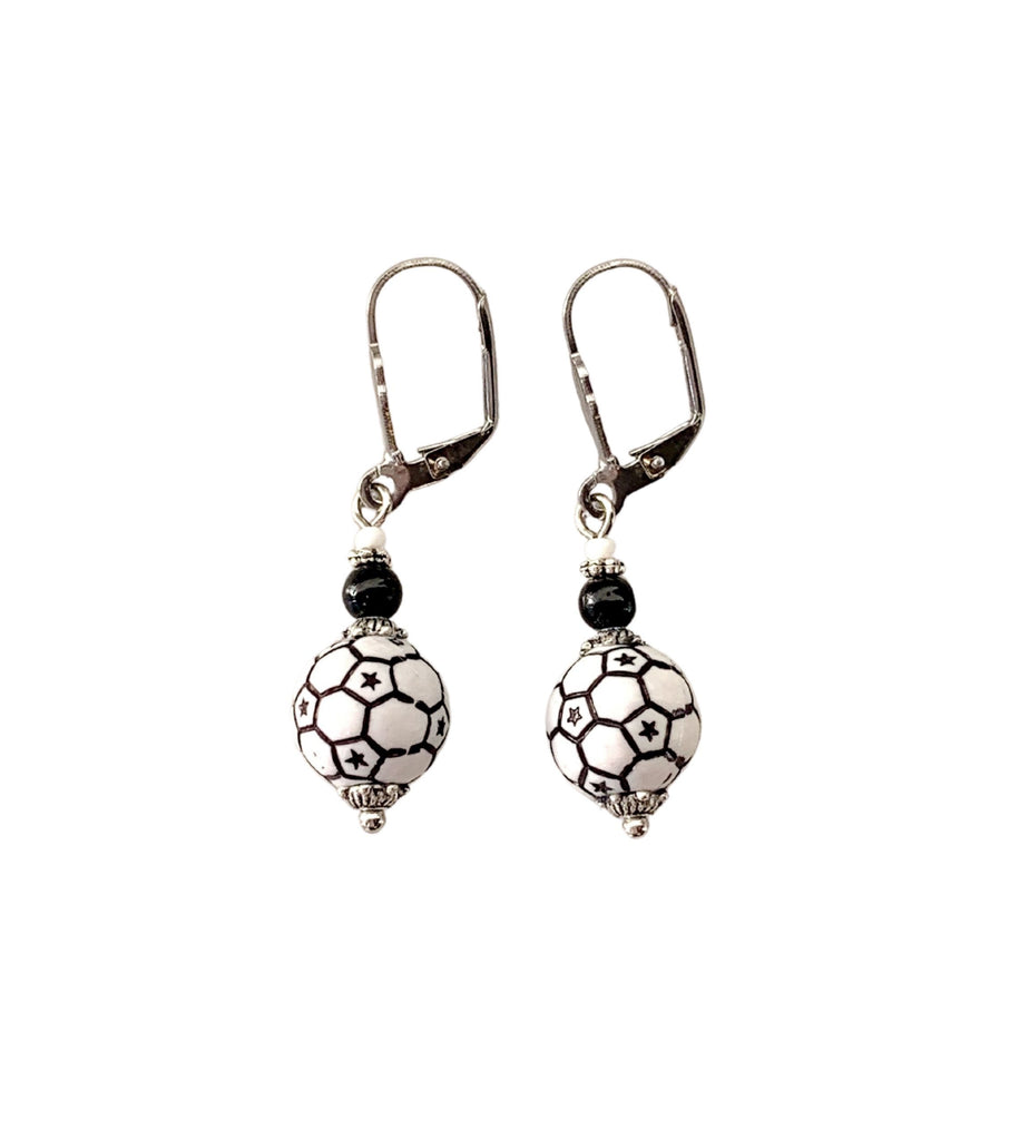 Soccer Ball Earrings - Rare Dirndl - Dirndl made in USA