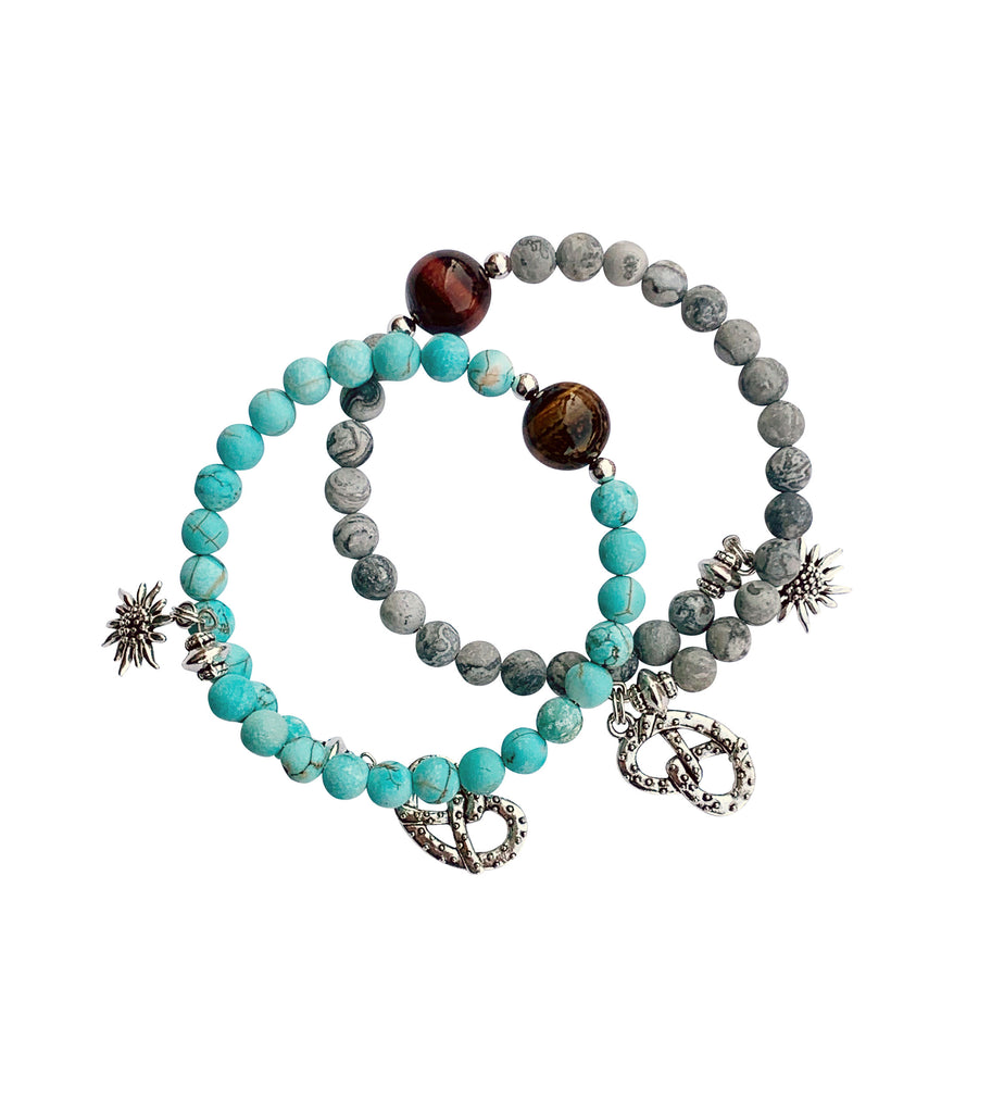 Natural Gemstone Bracelet with Charms