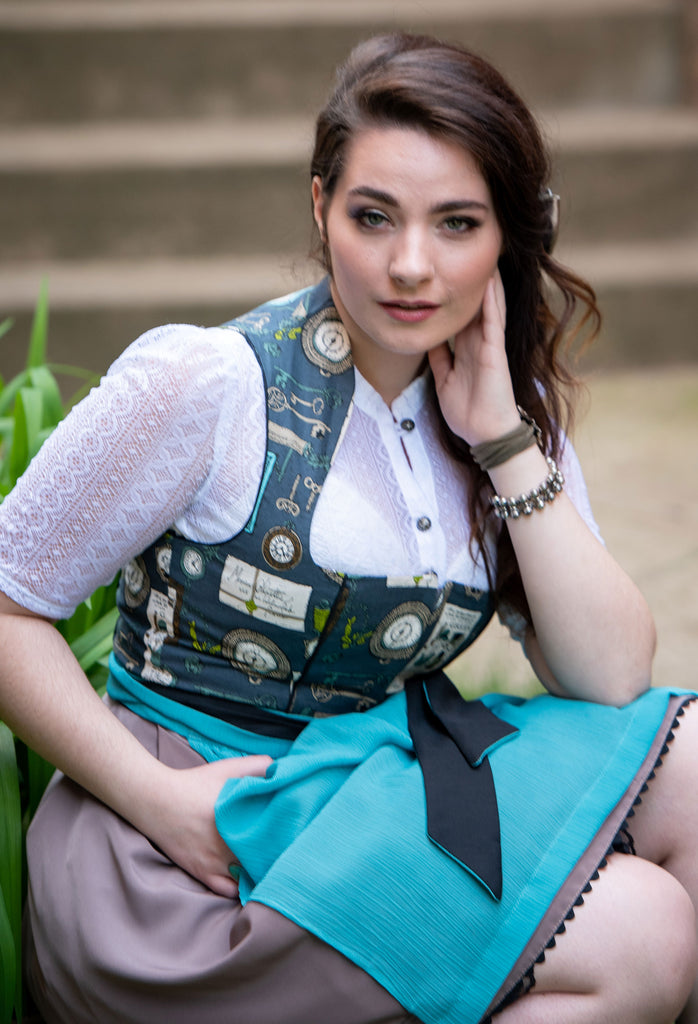 High-Neck Dirndl Blouse with 3/4 Sleeves - Rare Dirndl
