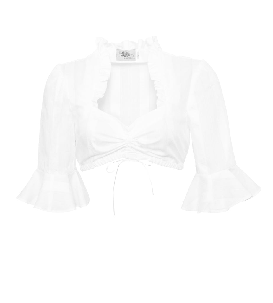 White Sweetheart Blouse with Flounce - Rare Dirndl