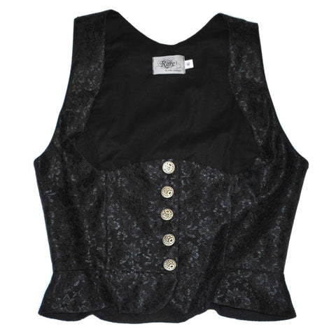 Black & Silver Dirndl Vest with Alligator Vinyl