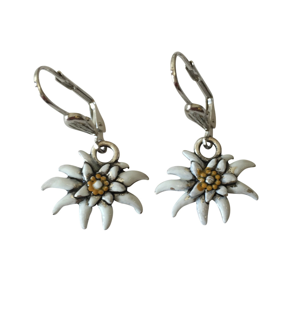 Painted Edelweiss Earrings - Rare Dirndl
