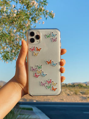 12 Mini Solid Butterfly Stickers