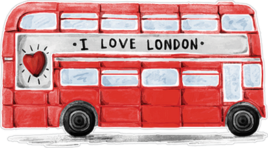 London Double-Decker Bus Sticker