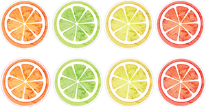 12 Mini Citrus Stickers