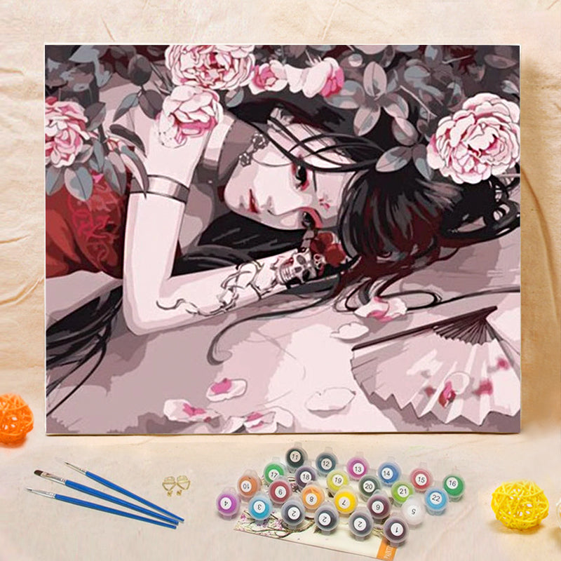 "DIY Painting By Numbers -Girl With Flowers  (16""x20"" / 40x50cm)"