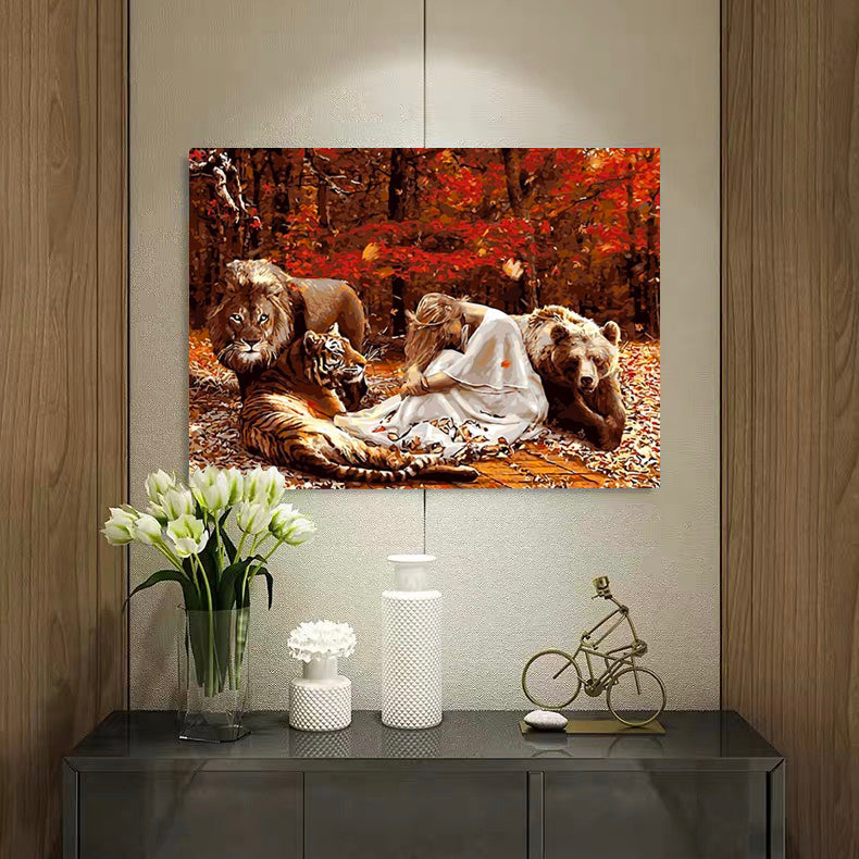 "DIY Painting By Numbers - Lion, Tiger, Girl And Bear (16""x20"" / 40x50cm)"