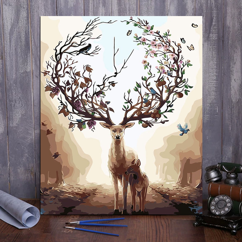"DIY Painting By Numbers - Forest deer (16""x20"" / 40x50cm)"