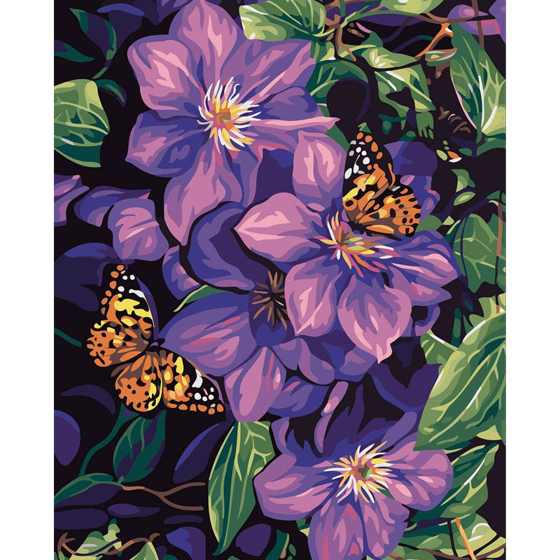 "DIY Painting By Numbers - Purple flowers & butterflies (16""x20"" / 40x50cm)"