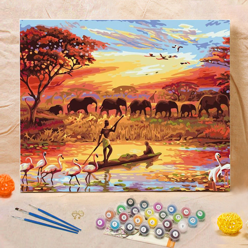 "DIY Painting By Numbers -  African Grassland (16""x20"" / 40x50cm)"