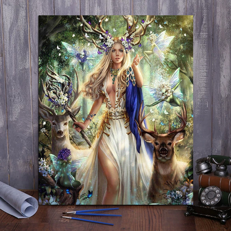 "DIY Painting By Numbers -Forest queen  (16""x20"" / 40x50cm)"