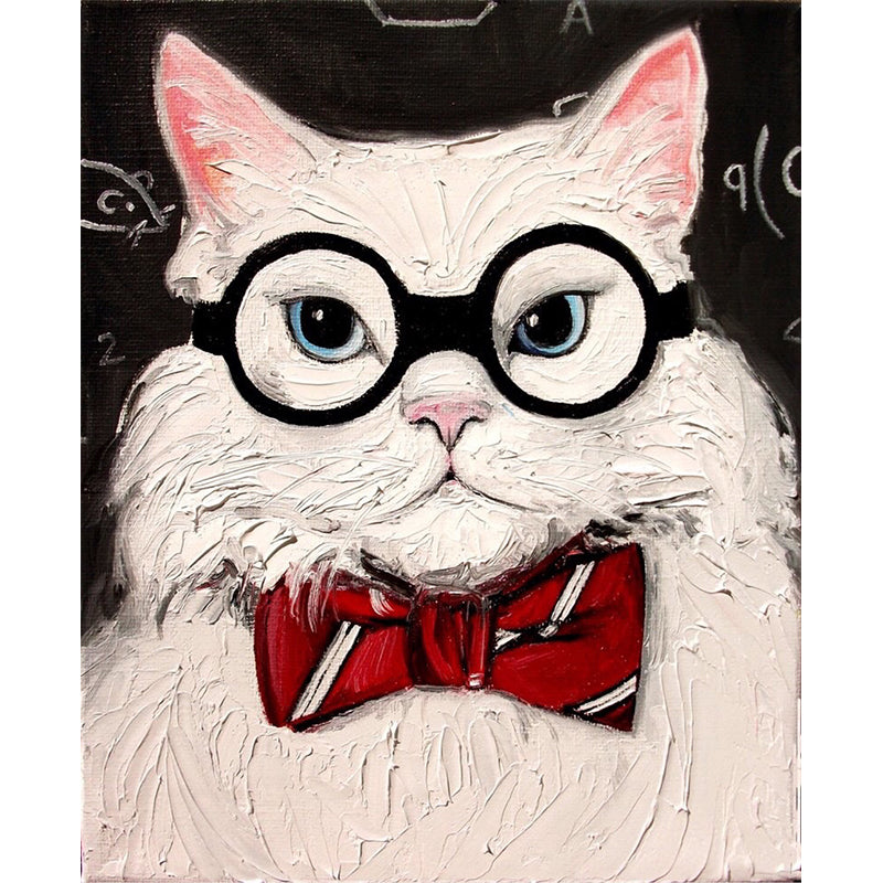 "DIY Painting By Numbers -The cat with the glasses  (16""x20"" / 40x50cm)"