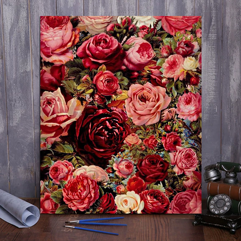 "DIY Painting By Numbers - Romantic Flowers (16""x20"" / 40x50cm)"