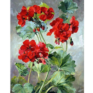 "DIY Painting By Numbers -Rose Geranium  (16""x20"" / 40x50cm)"