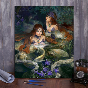 "DIY Painting By Numbers -Two mermaids  (16""x20"" / 40x50cm)"