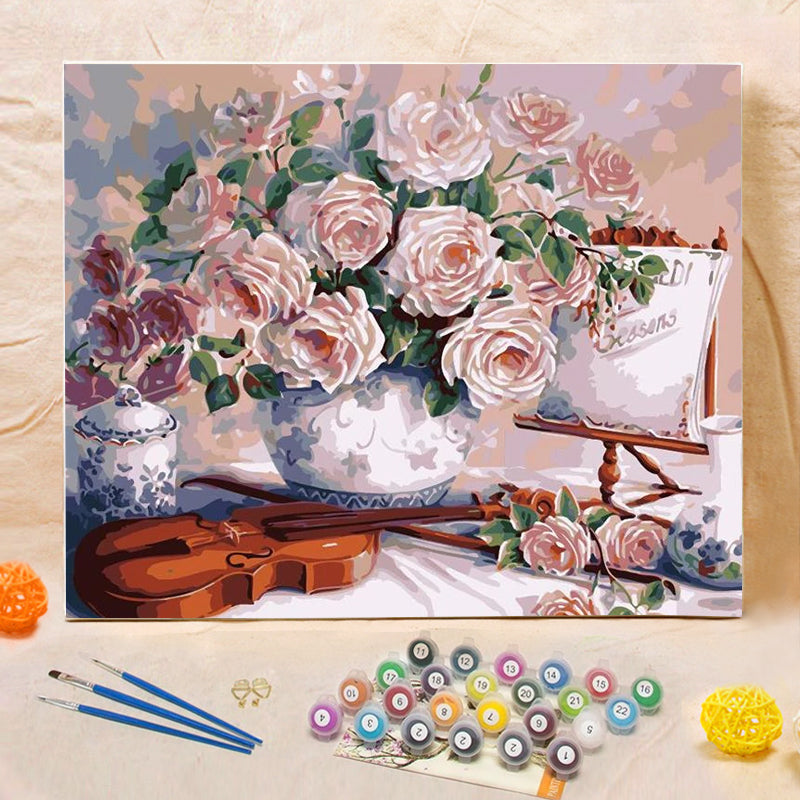 "DIY Painting By Numbers - Rose And Violin (16""x20"" / 40x50cm)"