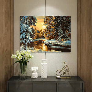 "DIY Painting By Numbers - Snow Forest  (16""x20"" / 40x50cm)"