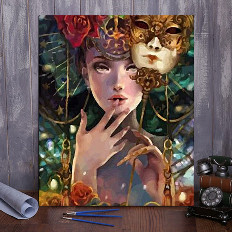 "DIY Painting By Numbers -Girl With Mask (16""x20"" / 40x50cm)"