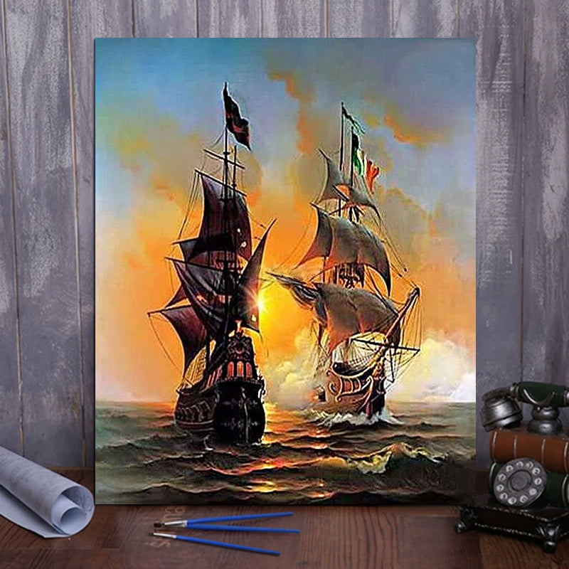 "DIY Painting By Numbers - Warship (16""x20"" / 40x50cm)"