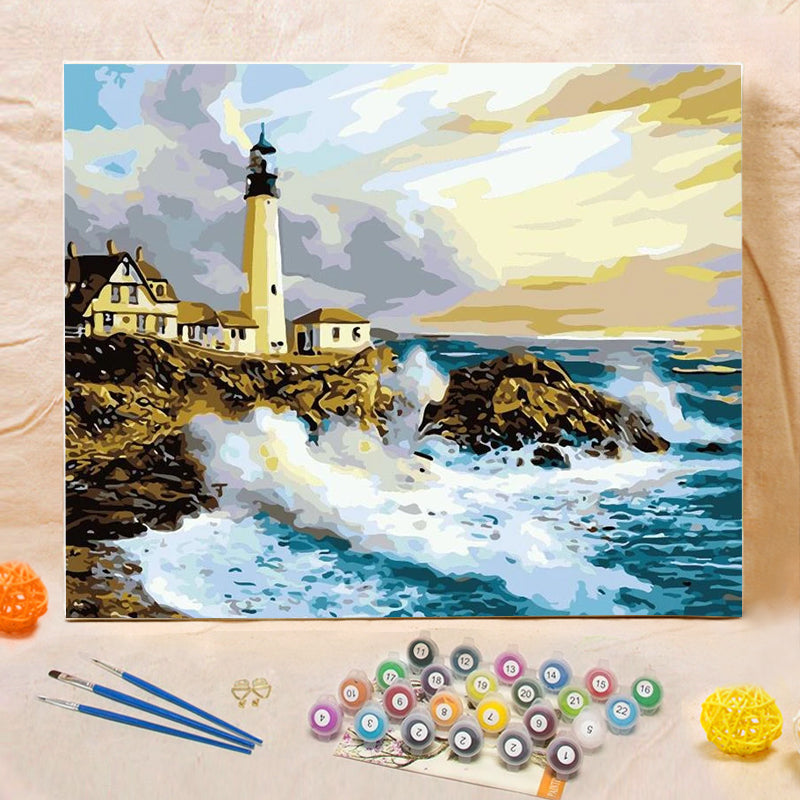 "DIY Painting By Numbers - Lighthouse  (16""x20"" / 40x50cm)"