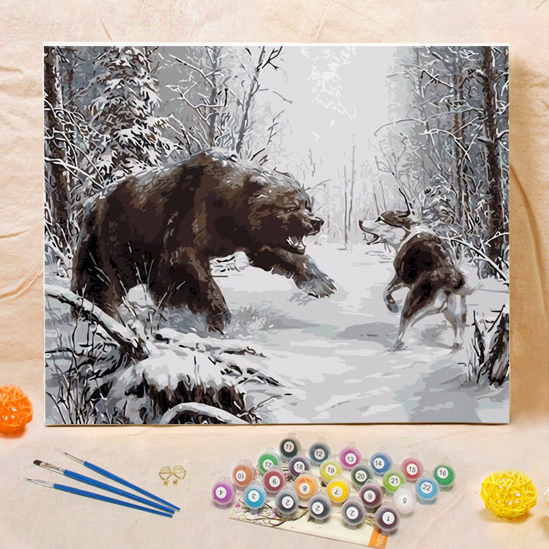"DIY Painting By Numbers - Dueling Bear And Wolf (16""x20"" / 40x50cm)"