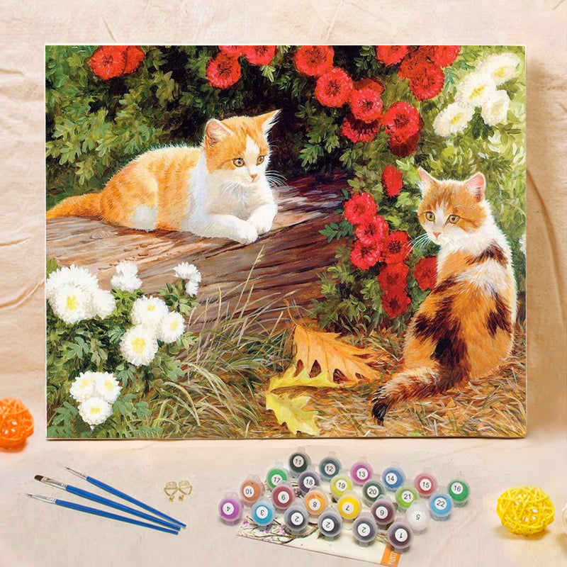 "DIY Painting By Numbers - Cute Cats (16""x20"" / 40x50cm)"