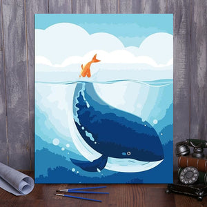 "DIY Painting By Numbers - Whale (16""x20"" / 40x50cm)"