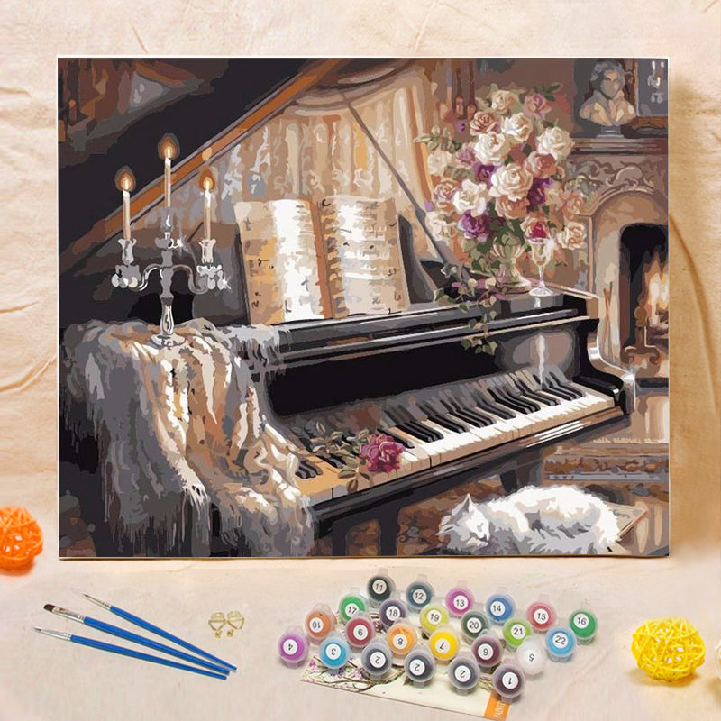 "DIY Painting By Numbers - Vintage European Piano (16""x20"" / 40x50cm)"