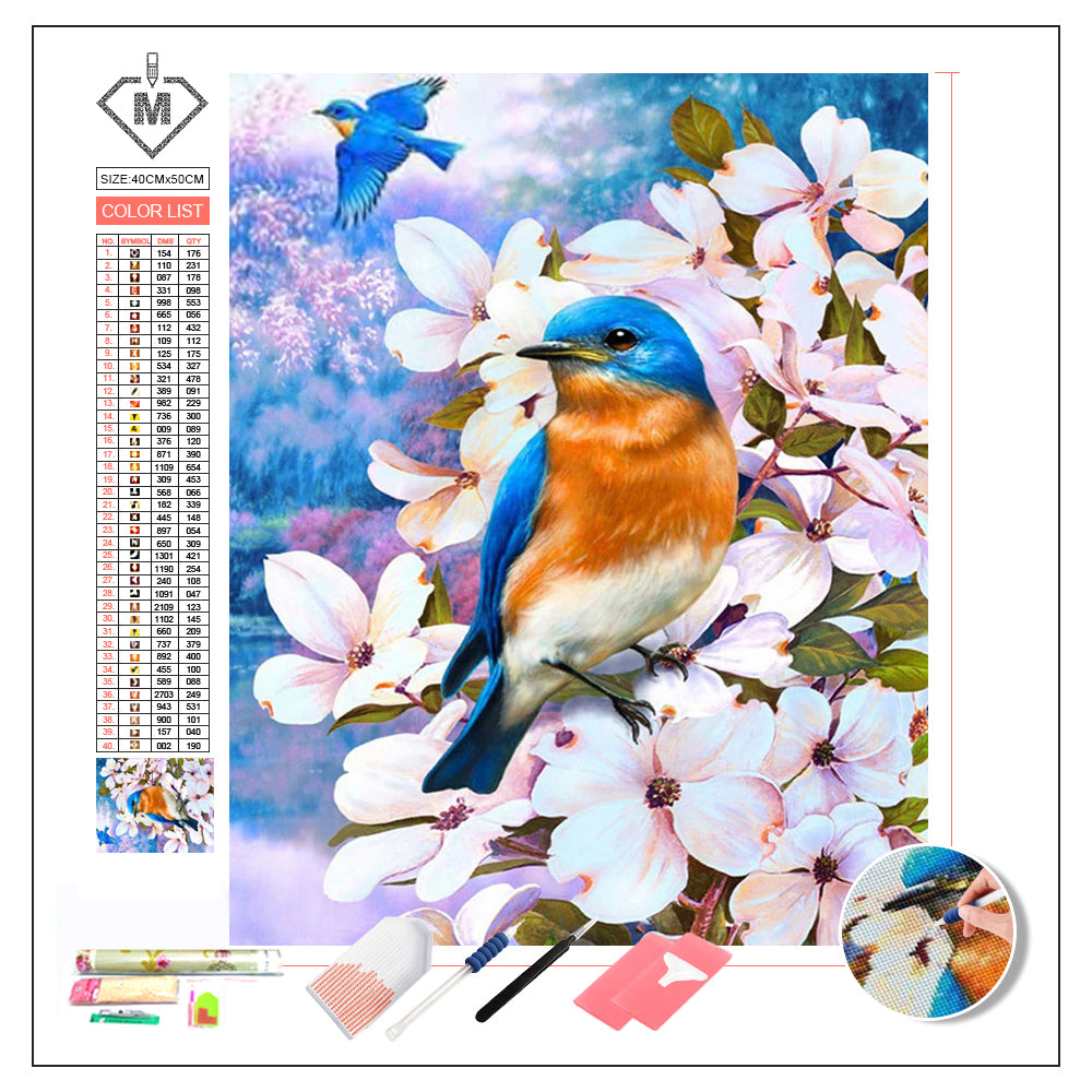 DIY Diamond Painting Kit  - Bird and flower