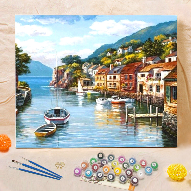 "DIY Painting By Numbers -  Harbor Town (16""x20"" / 40x50cm)"