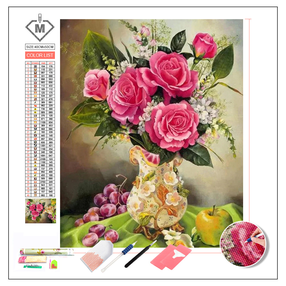 DIY Diamond Painting Kit  - Blooming roses