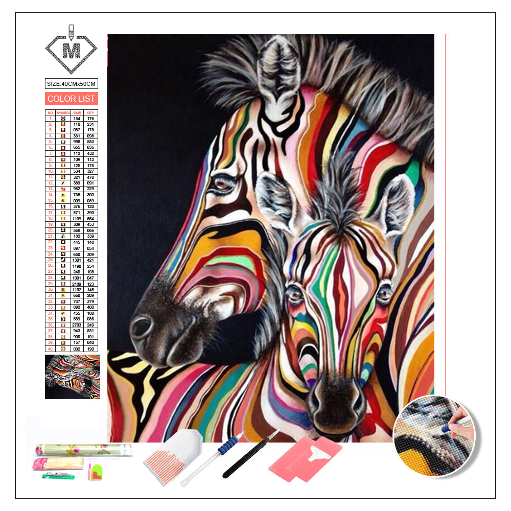 DIY Diamond Painting Kit  - Color zebra