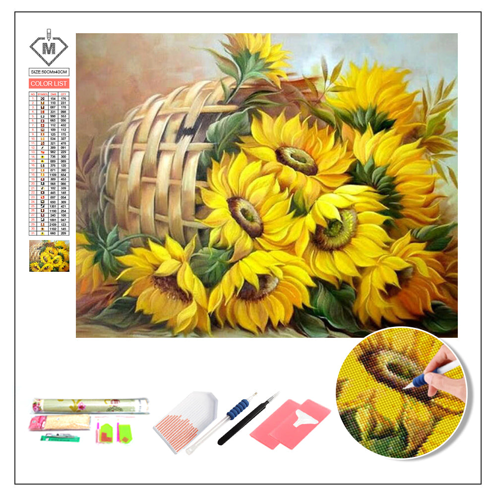 DIY Diamond Painting Kit  - A basket of sunflowers