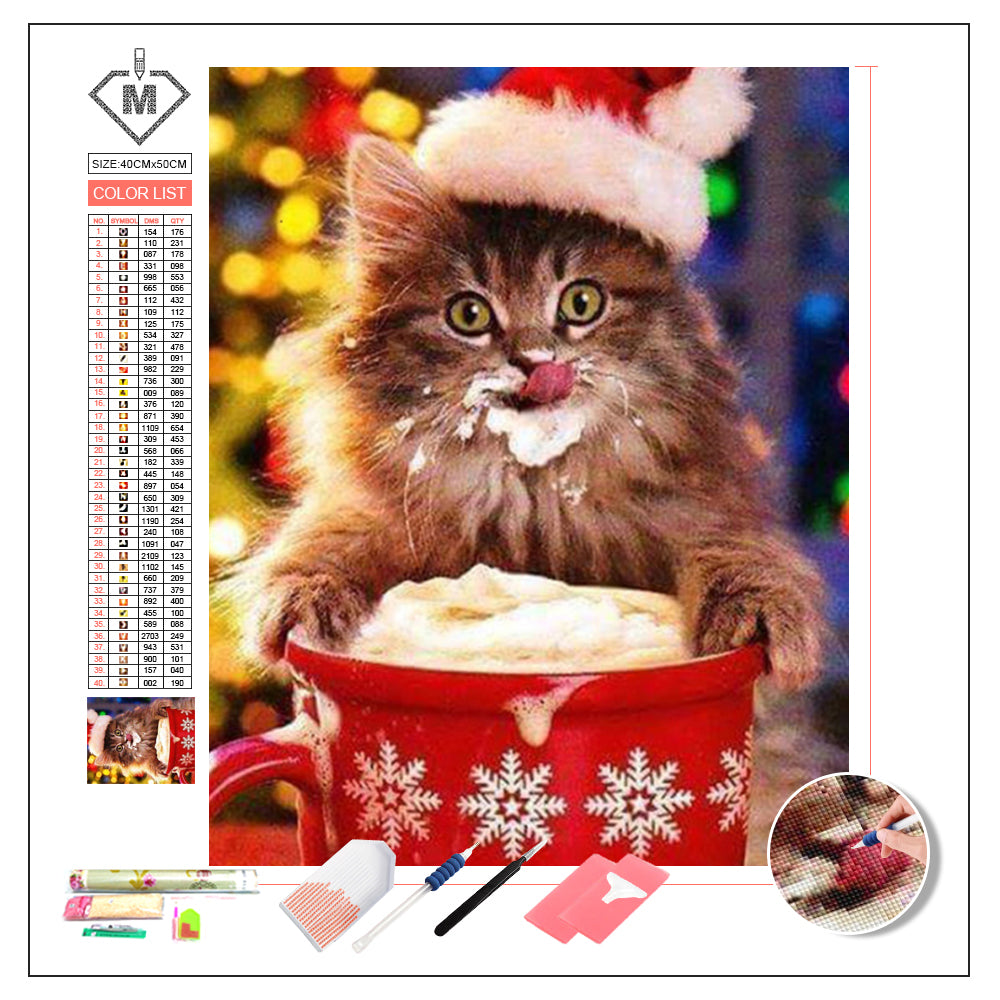 DIY Diamond Painting Kit  - Cat christmas