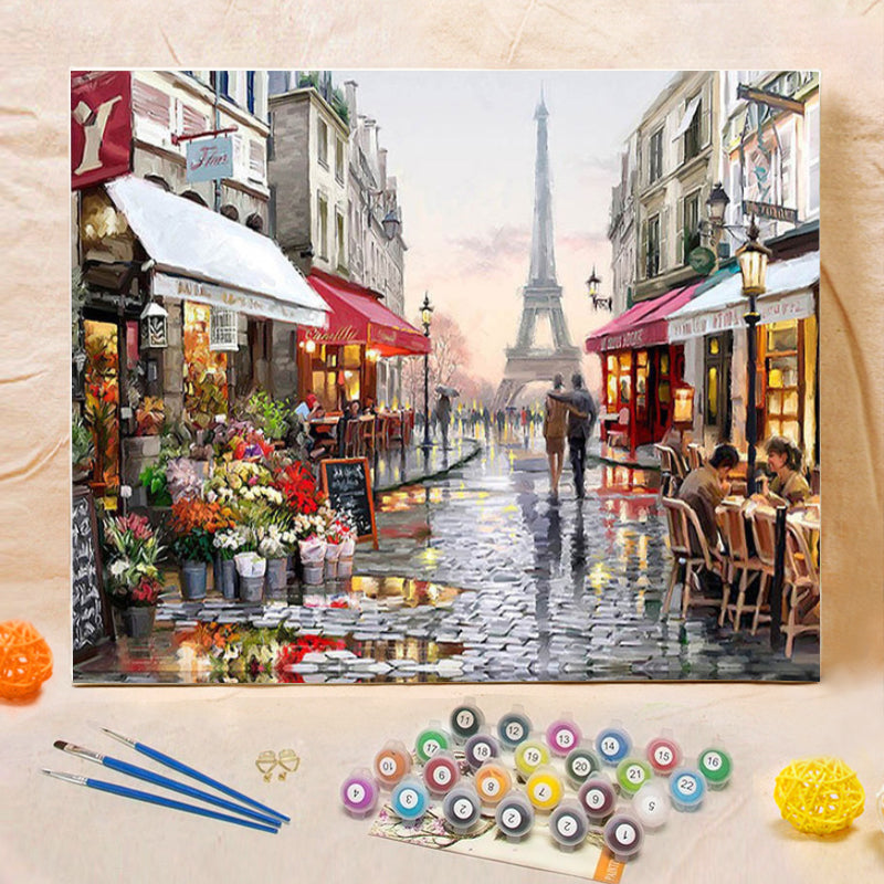 "DIY Painting By Numbers - Paris Street (16""x20"" / 40x50cm)"