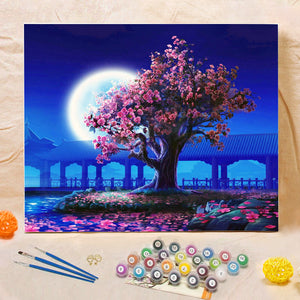 "DIY Painting By Numbers - Romantic Moon Night (16""x20"" / 40x50cm)"