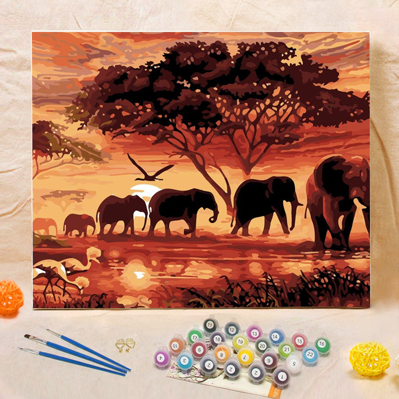 "DIY Painting By Numbers - Elephants Landscape (16""x20"" / 40x50cm)"