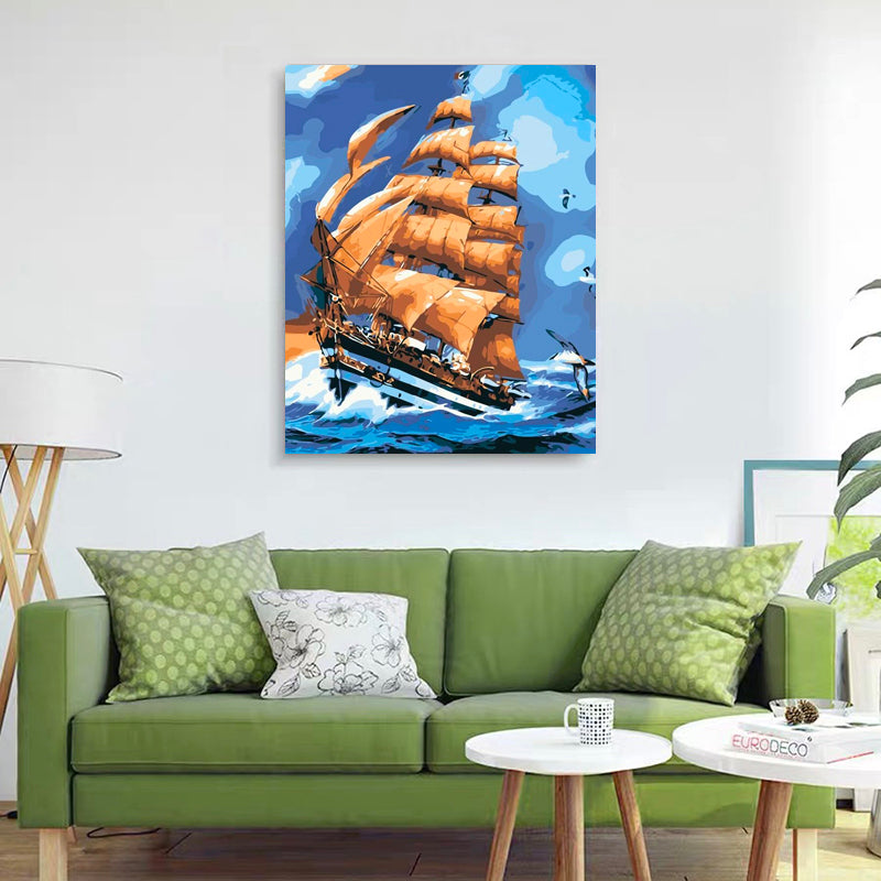 "DIY Painting By Numbers - Boat and Seagull (16""x20"" / 40x50cm)"