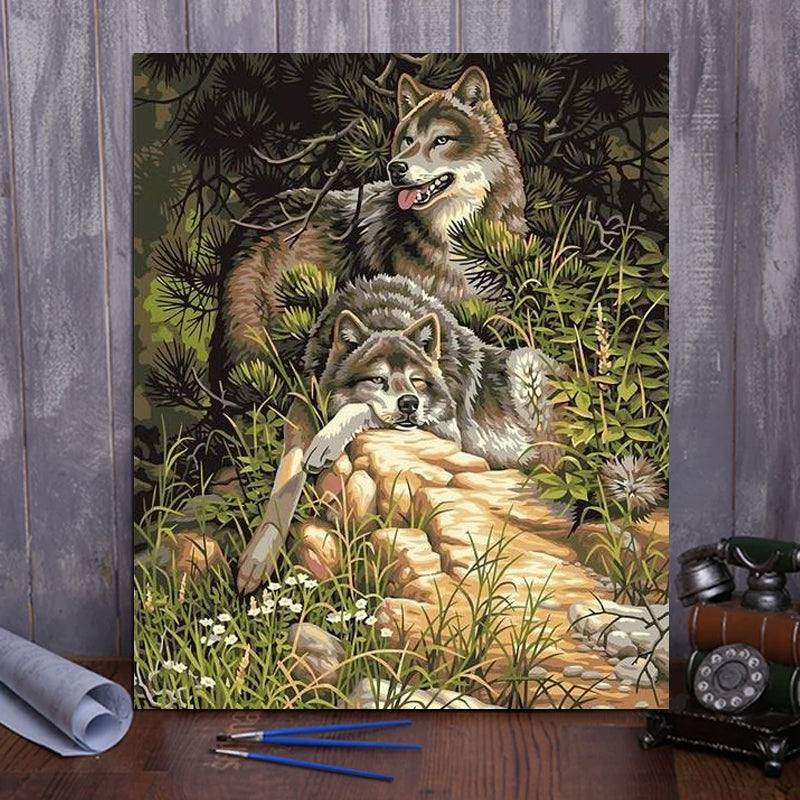 "DIY Painting By Numbers -  Wolf (16""x20"" / 40x50cm)"