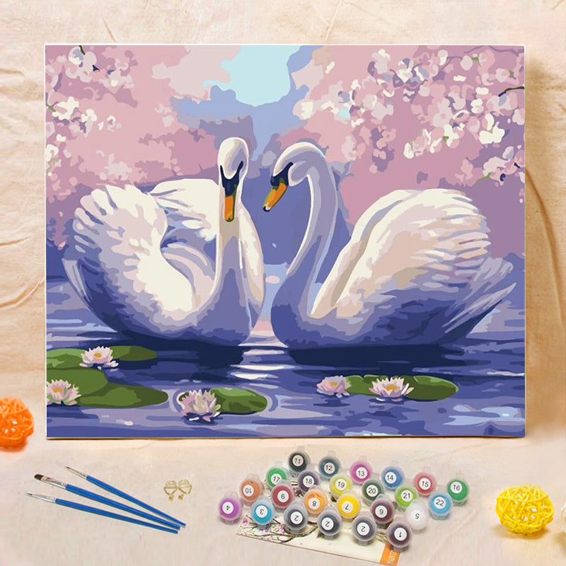 "DIY Painting By Numbers -  Swans (16""x20"" / 40x50cm)"
