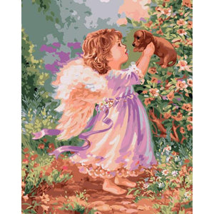 "DIY Painting By Numbers -Angel Girl With Puppy (16""x20"" / 40x50cm)"