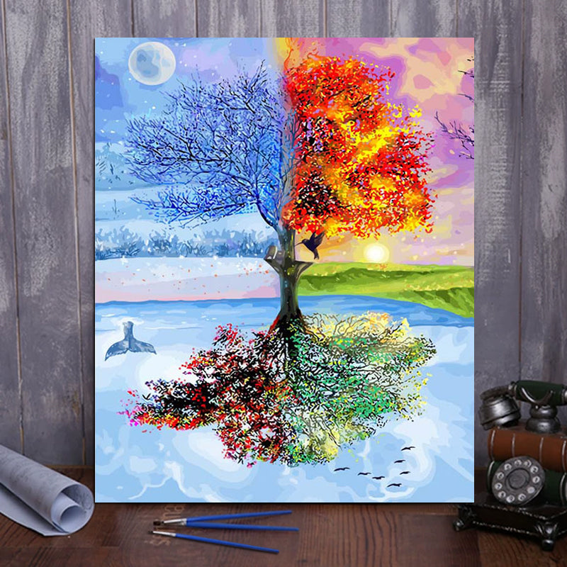 "DIY Painting By Numbers -Colorful Trees  (16""x20"" / 40x50cm)"