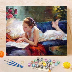 "DIY Painting By Numbers - Girl reading a book (16""x20"" / 40x50cm)"
