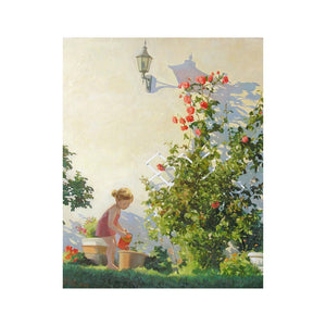 "DIY Painting By Numbers - Little girl watering flowers (16""x20"" / 40x50cm)"